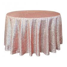 102 inch round rose gold sequin tablecloth