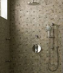 Modern Design With Ceiling Mount Shower Heads For Bathroom Decoration :  Simple And Neat Brown Mosaic ...