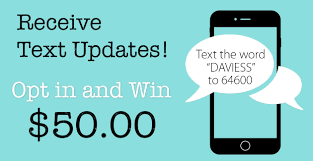 receive text message updates and win 50