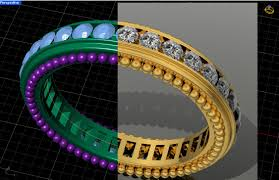 of jewelry in 3d we can change the designs right in front of the customer and then render the piece in any metal to show the customer all the diffe