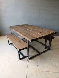 reclaimed industrial chic 6 8 seater solid wood and metal dining table bar and cafe bar restaurant furniture steel and wood made to mere on etsy 517 54