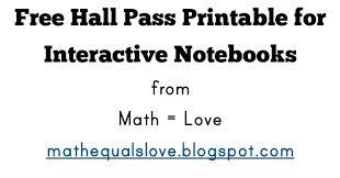 Math Love Free Interactive Notebook Hall Pass