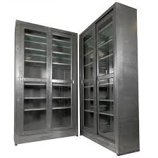 single industrial metal cabinet w sliding glass doors for