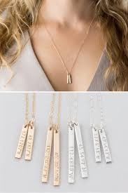 coordinates necklace customized dainty vertical bar necklace 14k gold fill silver 14k