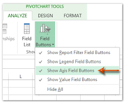 How To Hide Field Buttons In Pivot Chart How To Show Or Hide Filed Buttons In Pivot Chart In Excel