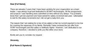 Letter To Ask For Raise How To Ask For A Salary Raise Letter How To Letter Format