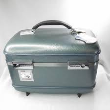 american tourister gray blue travel train case carry on pinup makeup mirror americantourister