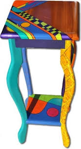 whimsical painted furnitureHand Painted Bench  Hollywood Thing