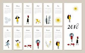 creative calendar. Unique Creative Creative Calendar 2018 Concept Vector Editable Template Graphic  Illustration Of People Dog Throughout Calendar