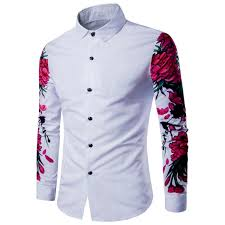 Shirt Design Flower Us 13 88 13 Off Novlety Design Young Mens Casual Shirts Flower Print Full Sleeve Patchwork Style Casual Boys Slim Fit Tops M 2xl Free Drop Ship In