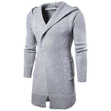 hooded trench coat mens long trench coat men hooded cardigan sweater fashion men knitwear autumn winter