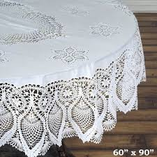 oval plastic tablecloth 60x90 with crocheted lace catering home party dinner