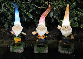 solar powered outdoor garden high hat gnome lights flowerbeds borders pathway