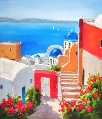 oil painting on canvas terranean santorini greece seascape scenery canvas prints home goods wall art decoration