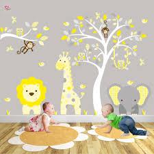 safari woodland wall decals yellow and grey nursery