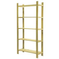5 tier sanded pine wood shelving unit