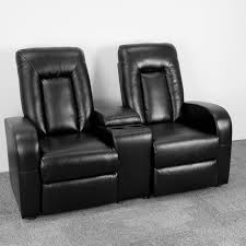 eclipse series 2 seat reclining black leather theater seating unit with cup holders bt 70259 2 bk gg