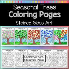 Seasonal Trees Stained Glass Coloring Pages By Dovie Funk Tpt