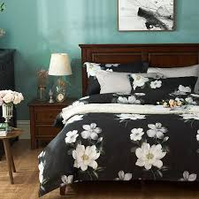 egyptian cotton bedding set queen size black and white bed linen decorative pattern bed sheet western duvet cover home decor blue duvet covers best