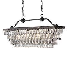rectangular pendant light fixtures unique antique bronze rectangular crystal chandelier dining room ceiling