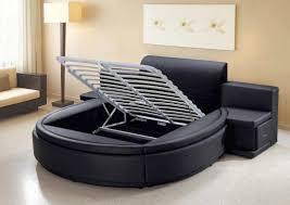 Black leather adjustable round mattresses ...