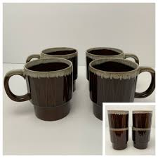 Coffee mugs for your house or business, straight from jes restaurant equipment! Vintage Drip Glaze Coffee Mugs 8 Oz Japan Brown Ceramic Lot Of 4 Cups Stackable Unbranded Mugs Ceramic Coffee Cups Coffee Mugs