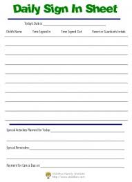 daycare sign in and out sheet child care daily reports printable forms childfun