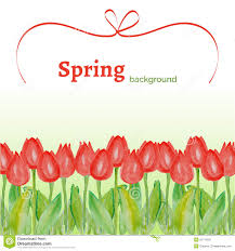 Spring Flower Template Template With Spring Flowers Tulips With Watercolor Texture On A