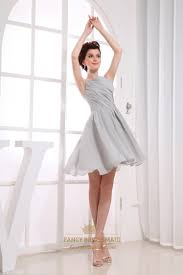 Gray Short Pleated Chiffon A Line Bateau Bridesmaid Dresses