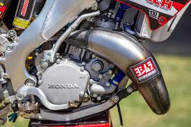 2018 honda 2 stroke. interesting honda no yoshimura is not in the twostroke exhaust game this system just  features yosh labels for some added shock value looks to us like its a pro circuit  in 2018 honda 2 stroke