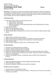 Chemistry Unit Test Name: Revision Sheet