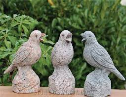 granite handcarved stone birds carvings