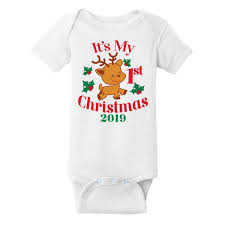 My First Christmas 2019 <b>Short Sleeve</b> One Piece | Sleeping <b>Baby</b>