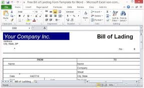 Bill Of Lading Free Form Free Bill Of Lading Form Template For Excel