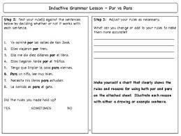 Spanish Inductive Grammar Lesson Por Vs Para
