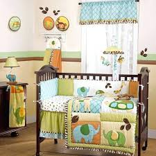 safari baby bedding colorful jungle safari giraffe and elephant neutral nursery crib baby bedding forest animal