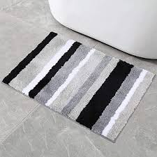 Buganda Non-Slip Bathroom Rug Water Absorbent Soft Microfiber Shaggy Bath  Mat Machine Washable Bath Rug for Bathroom (17 x 24 Inch, Black/Grey):  Amazon.com.au: Kitchen