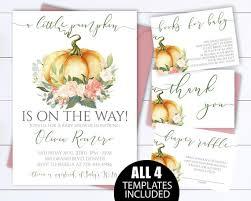 Pumpkin Invitations Template Little Pumpkin Baby Shower Invitation Template A Little Etsy