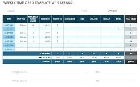 timesheet calculator with lunch excel template weekly time card with breaks formulas timesheet