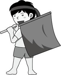 イラストポップ 学校のイラスト 運動会no03赤い大きな旗を振る応援団の