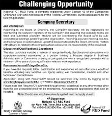 National Ict R&d Fund Islamabad Requires Company Secretary In ...