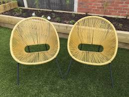 rrp 140 john lewis garden furniture 2 x seats chairs safron yellow pair vgc nottingham