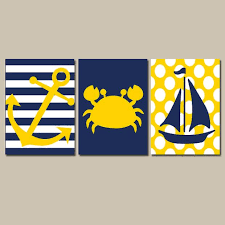 >nautical wall art nursery bathroom canvas navy blue yellow preppy  nautical wall art nursery bathroom canvas navy blue yellow preppy artwork ocean girl boy anchor boat