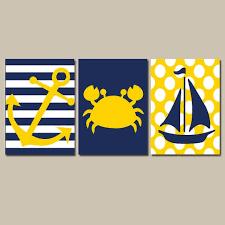 nautical wall art nursery bathroom canvas navy blue yellow preppy artwork ocean girl boy anchor boat on navy blue and yellow wall art with nautical wall art nursery bathroom canvas navy blue yellow preppy