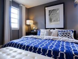 modern blue master bedroom. Modern Master Bedroom With Blue Wall And White Linens. Stock Photo - 15079294