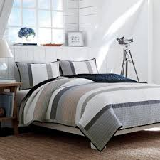 nautica bedroom furniture. nautica tideway neutral stripe cotton reversible quilt bedroom furniture