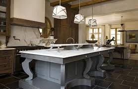 beautiful kitchen island ideas with brown floor and white bar