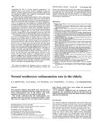 Pdf Normal Erythrocyte Sedimentation Rate In The Elderly