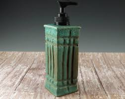 dog faces ceramic bathroom accessories shabby chic: pottery soap dispenser ceramic soap pump arts and crafts mission style hand soap dispenser