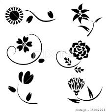 ハート 花 飾り セットのイラスト素材 15007791 Pixta